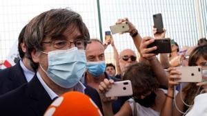 Puigdemont, a su salida de la prisión de Bancali