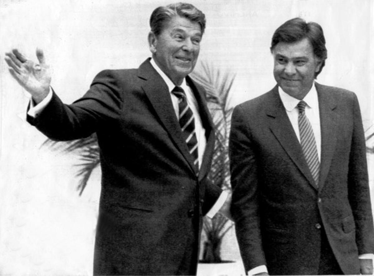 Entrevista de Ronald Reagan y Felipe González, en el palacio de El Pardo, en 1985.