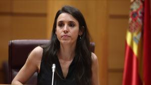 Irene Montero, ministra de Igualdad, interviene en la comparecencia en Comisión de su departamentoen Madrid, el pasado 25 de junio.