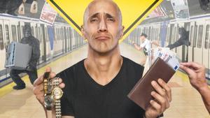 Héctor Mancha en una simpática imagen, promocionando su espectáculo de pickpocket.