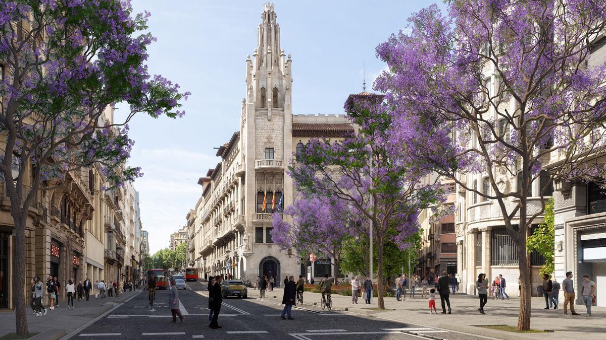 Imagen virtual de la futura bifurcación de Via Laietana y Junqueres, calle que pasará a ser peatonal