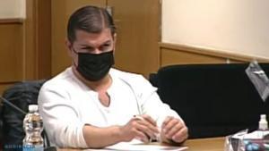 Captura de vídeo del acusado César Román, el 'Rey del cachopo', mientras comparece en una de las sesiones de su juicio por el asesinato de Heidi Paz, el pasado día 13, en la Audiencia Provincial de Madrid.
