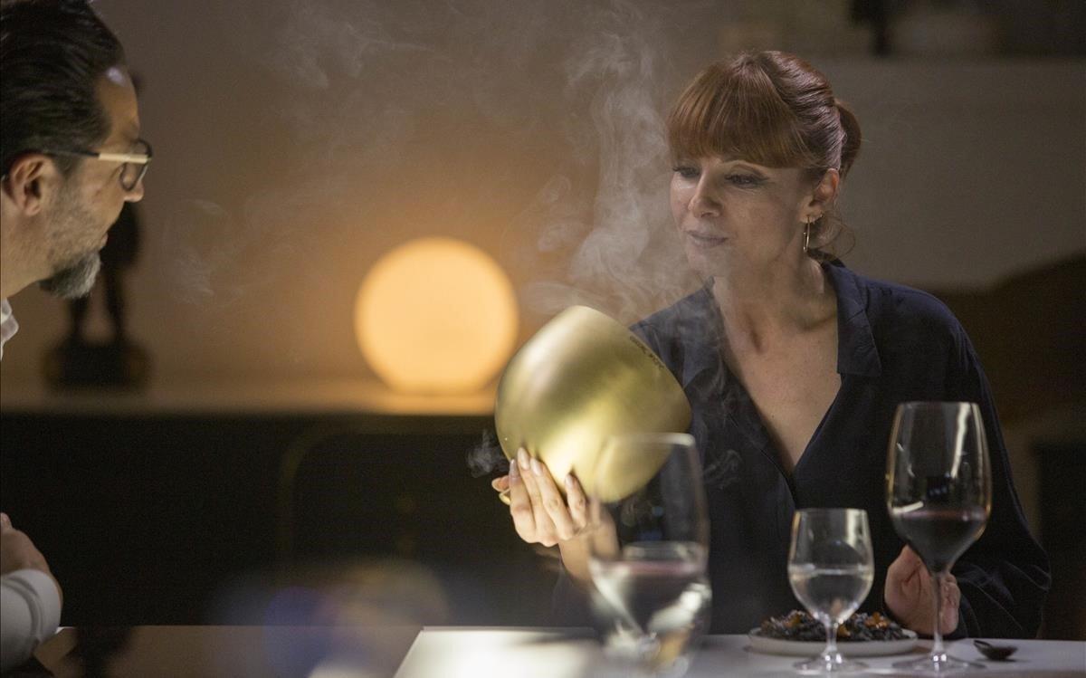 Najwa Nimri, en 'Una vida, una cena', con Quique Dacosta.