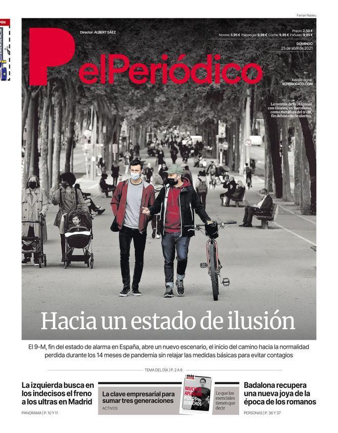 La portada d'EL PERIÓDICO del 25 d'abril del 2021