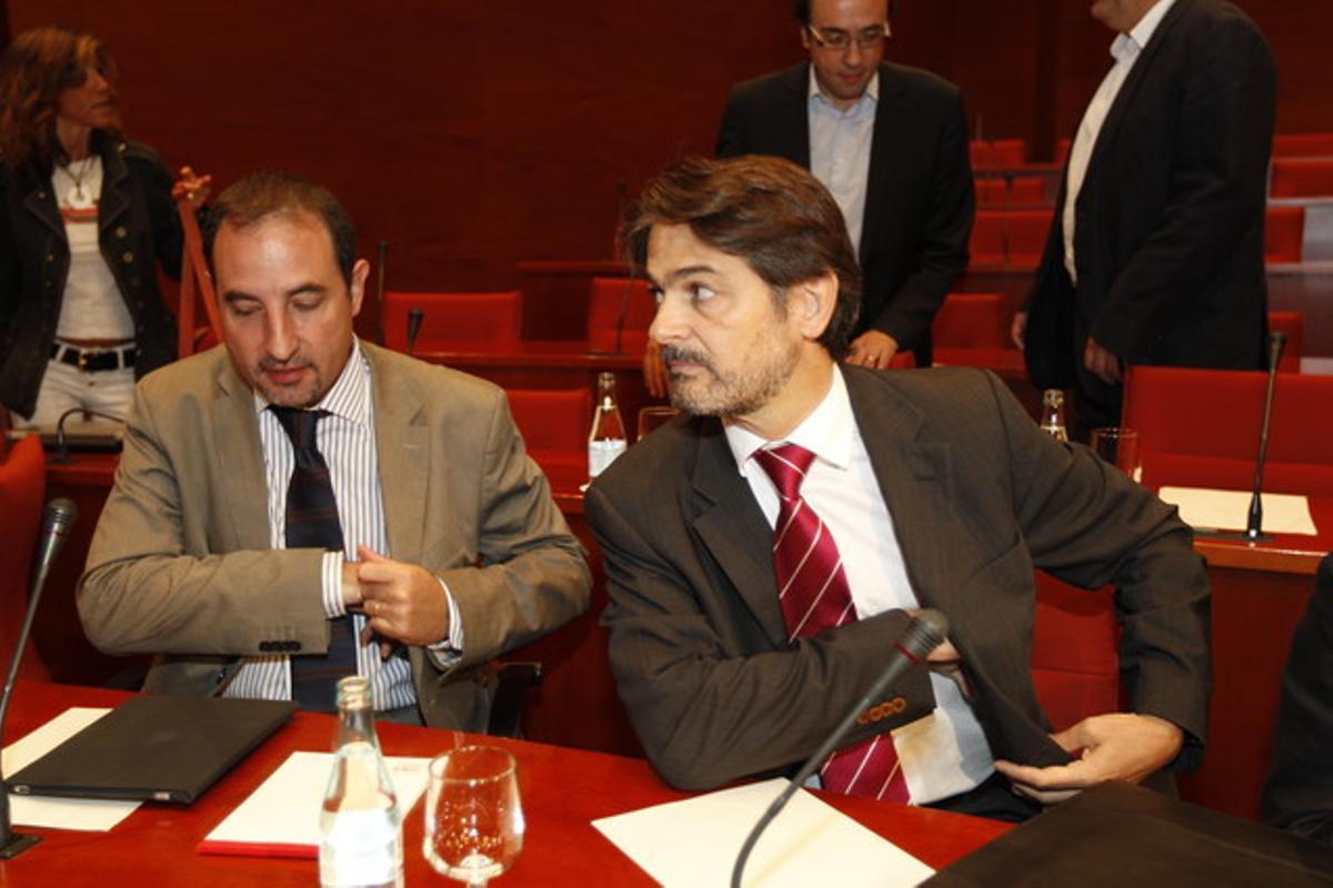 Oriol Pujol llega a dar explicaciones al Parlament por el 'caso Millet'.