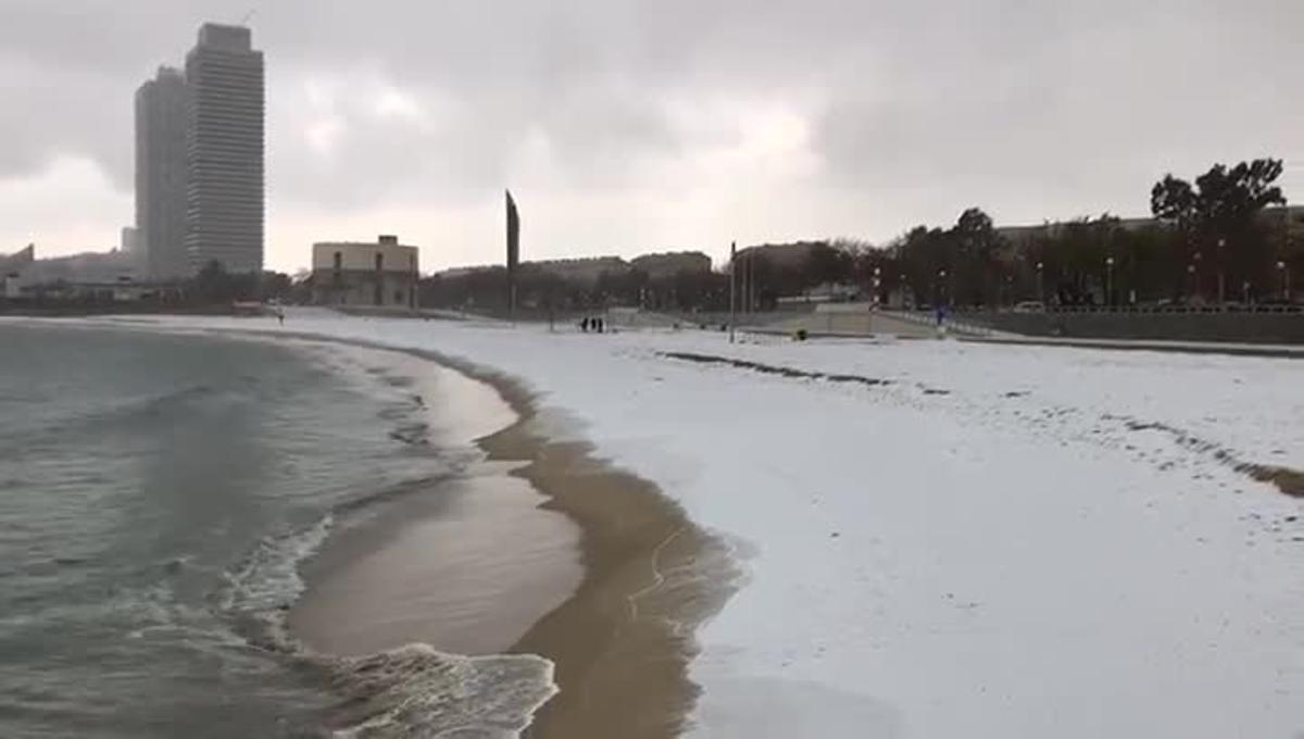 La playa de la Nova Icària muestra un aspecto inusual.