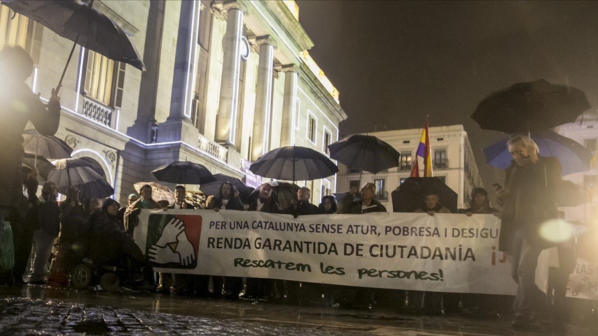 Manifestación para relamar la renta garantizada de ciudadanía, en diciembre del 2016.