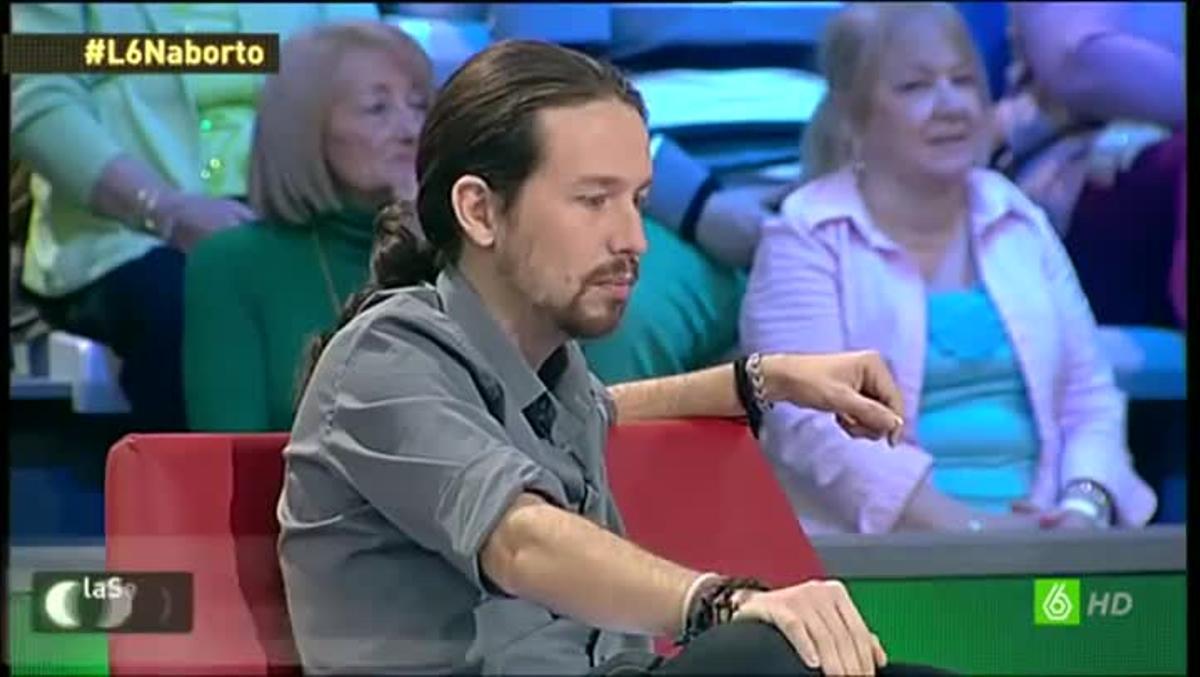 El líder de Podemos, Pablo Iglesias, durante un debate en el programa 'La Sexta Noche'.