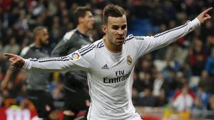 Jesé celebrando un gol con el Madrid.