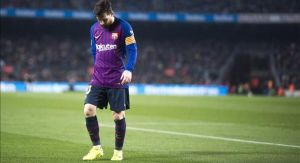 Messi, cabizbajodurante el partido de Liga entre el FC Barcelona y el Valladolid, el 16 de febrero del 2019.