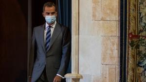 Felipe VI, el pasado 10 de agosto, en el Palacio Real de La Almudaina, en Mallorca.
