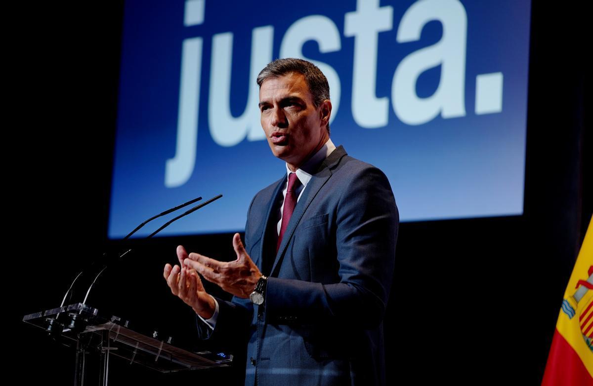 El presidente del Gobierno, Pedro Sánchez, durante su conferencia en Casa de América para dar inicio oficialmente al nuevo curso político.