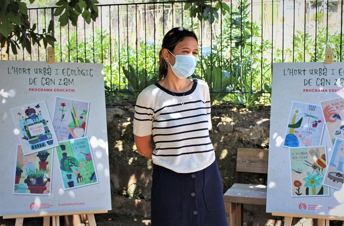 La alcaldesa de Santa Coloma, Núria Parlon, en la presentación Huerto urbano y ecológico de Can Zam.