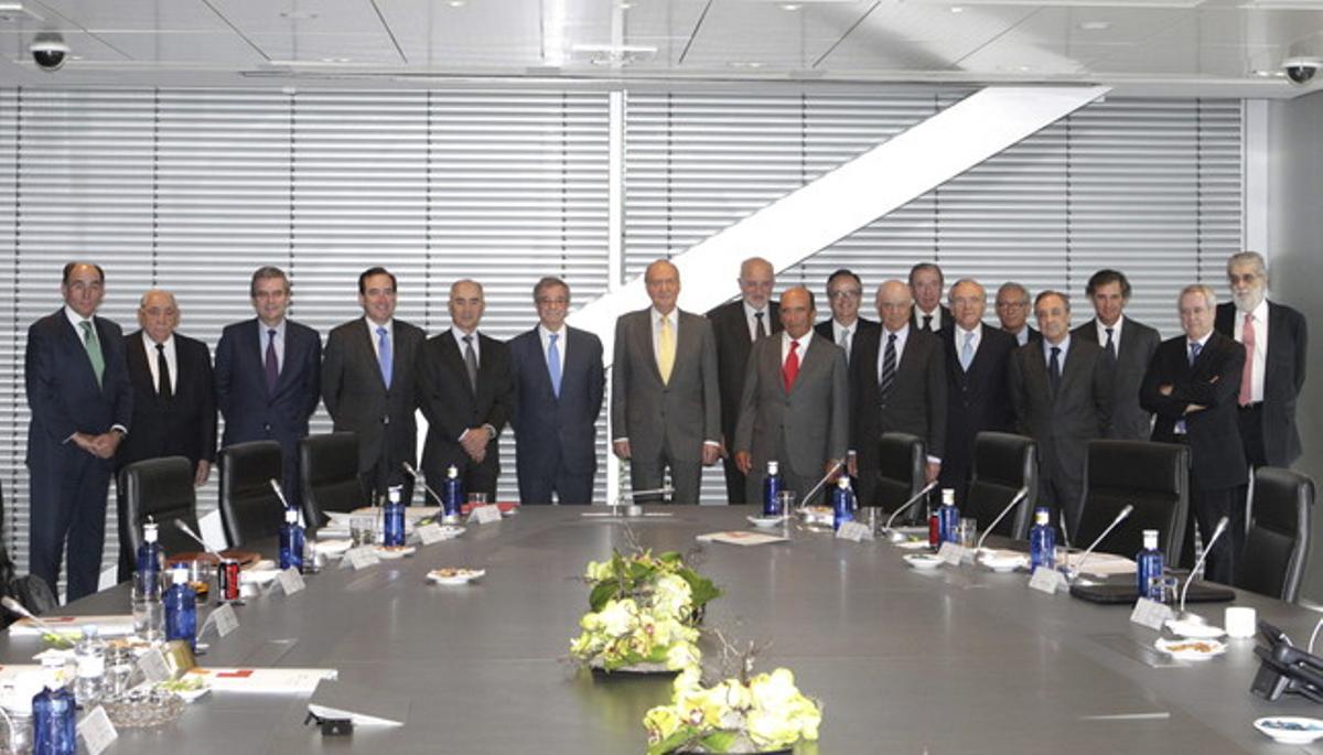 El Rey, con los miembros del Consejo Empresarial de la Competitividad, el pasado 20 de marzo.