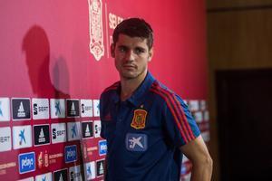 Álvaro Morata en la sala de prensa de la Ciudad del Fútbol de Las Rozas.