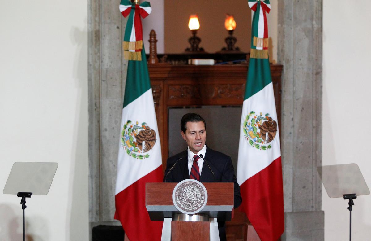 El presidente de México, Enrique Peña Nieto, durante su discurso ante el cuerpo diplomático.