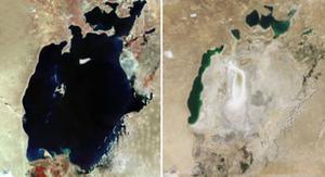 Una imagen del mar de Aral en 1973 (izquierda) y la misma imagen tomada este verano.