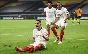 Los jugadores del Sevilla celebran un tanto en la pasada Europa League.