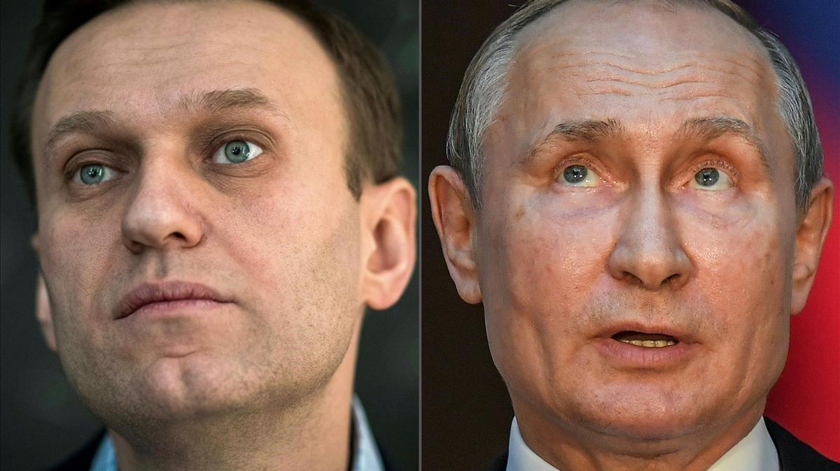 Alekséi Navalni y Vladímir Putin, en dos imágenes de archivo.