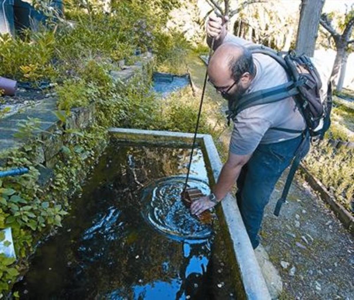 El biólogo Guillem Pascual cuida las planarias de las balsas del vivero de Tres Pins en Montjuïc, en Barcelona.