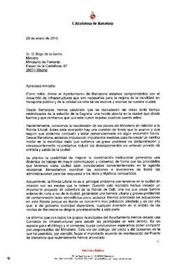 La carta de Colau al ministro de Fomento