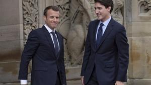 Los mandatarios Emmanuel Macron y Justin Trudeau, en un encuentro en Ottawa.
