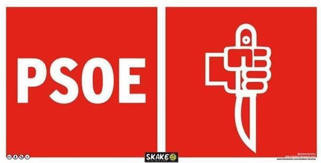Otro de los memes sobre la guerra interna en el PSOE, una sarcástica adaptación del logotipo del partido.