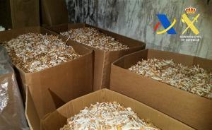 Cajas de cigarros en una fábrica clandestina de tabaco en Les Borges Blanques.