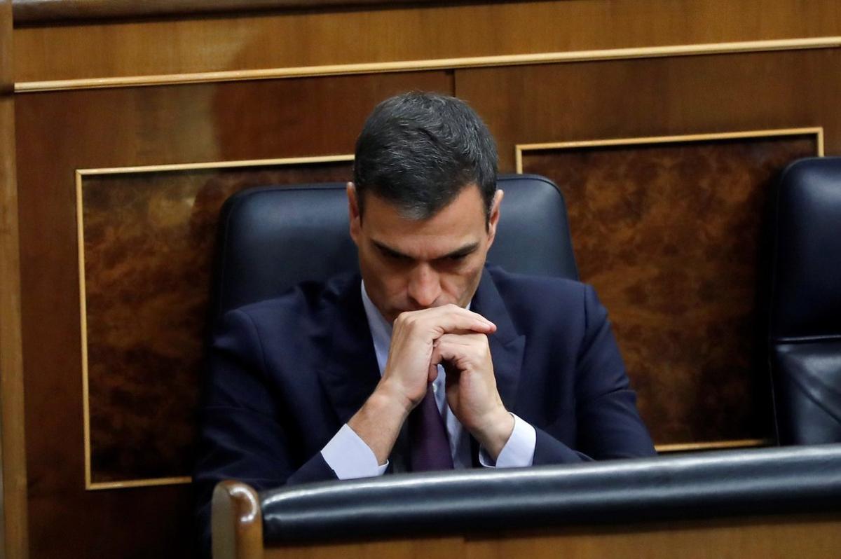 Pedro Sánchez, durante el debate de los Presupuestos, en febrero en el Congreso.