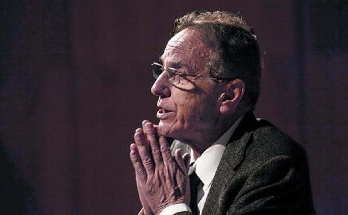 Raimon Obiols, el pasado 8 de marzo, en la presentación de sus memorias políticas, en Barcelona.