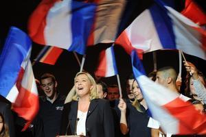 Marine Le Pen, en un acto del Frente Nacional en Béziers.