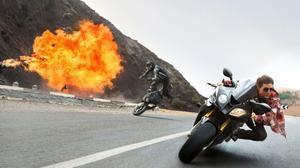 Espectacular escena de acción de la película 'Misión imposible: Nación secreta'.
