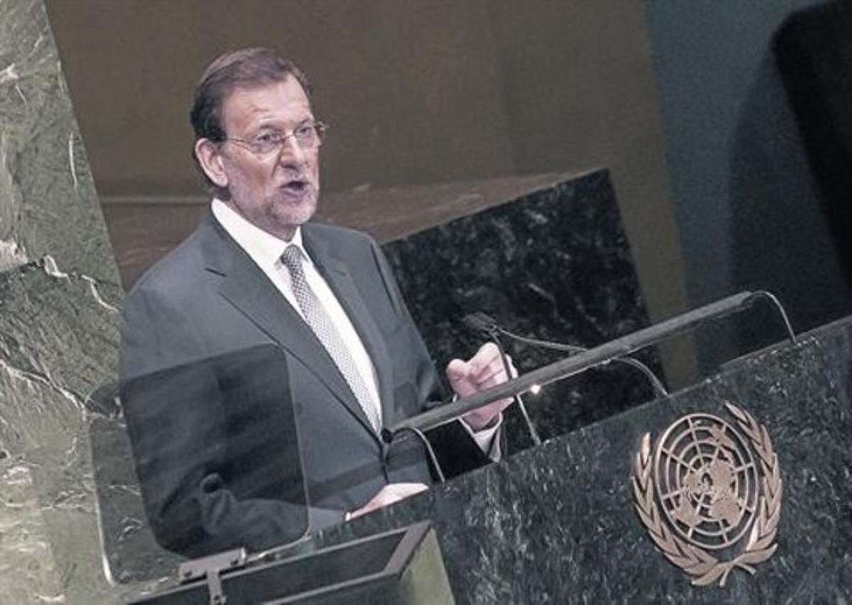 En el atril 8Mariano Rajoy, en la Asamblea General de la Naciones unidas, en septiembre del 2012.