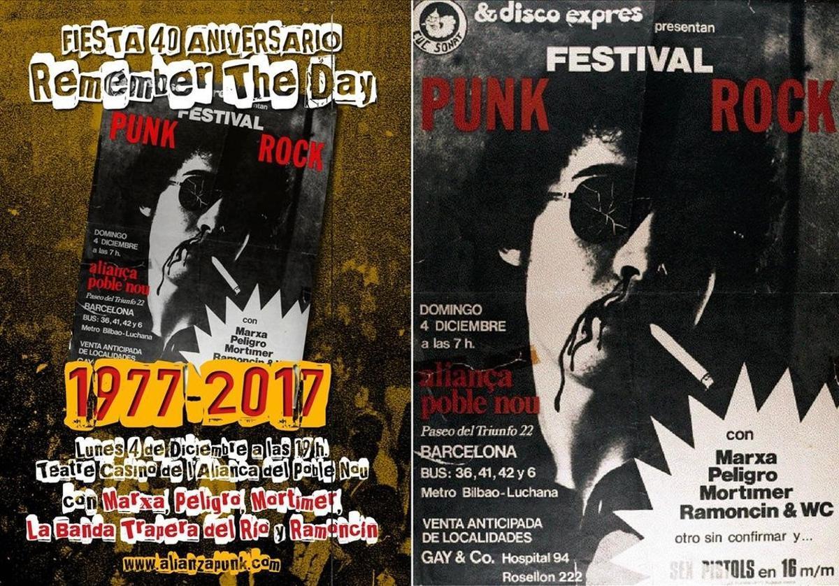 Los carteles de la edición del 2017 y de 1977 del Festival Punk Rock de la Aliança del Poblenou.