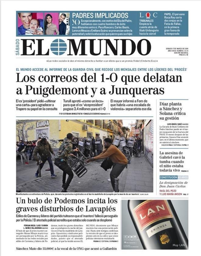'El Mundo' exprime los 'e-mails' del 1-O de Puigdemont y Junqueras