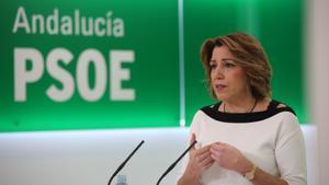 Susana Díaz, durante una rueda de prensa en la sede del PSOE de Andalucía, el pasado 8 de enero de 2021.