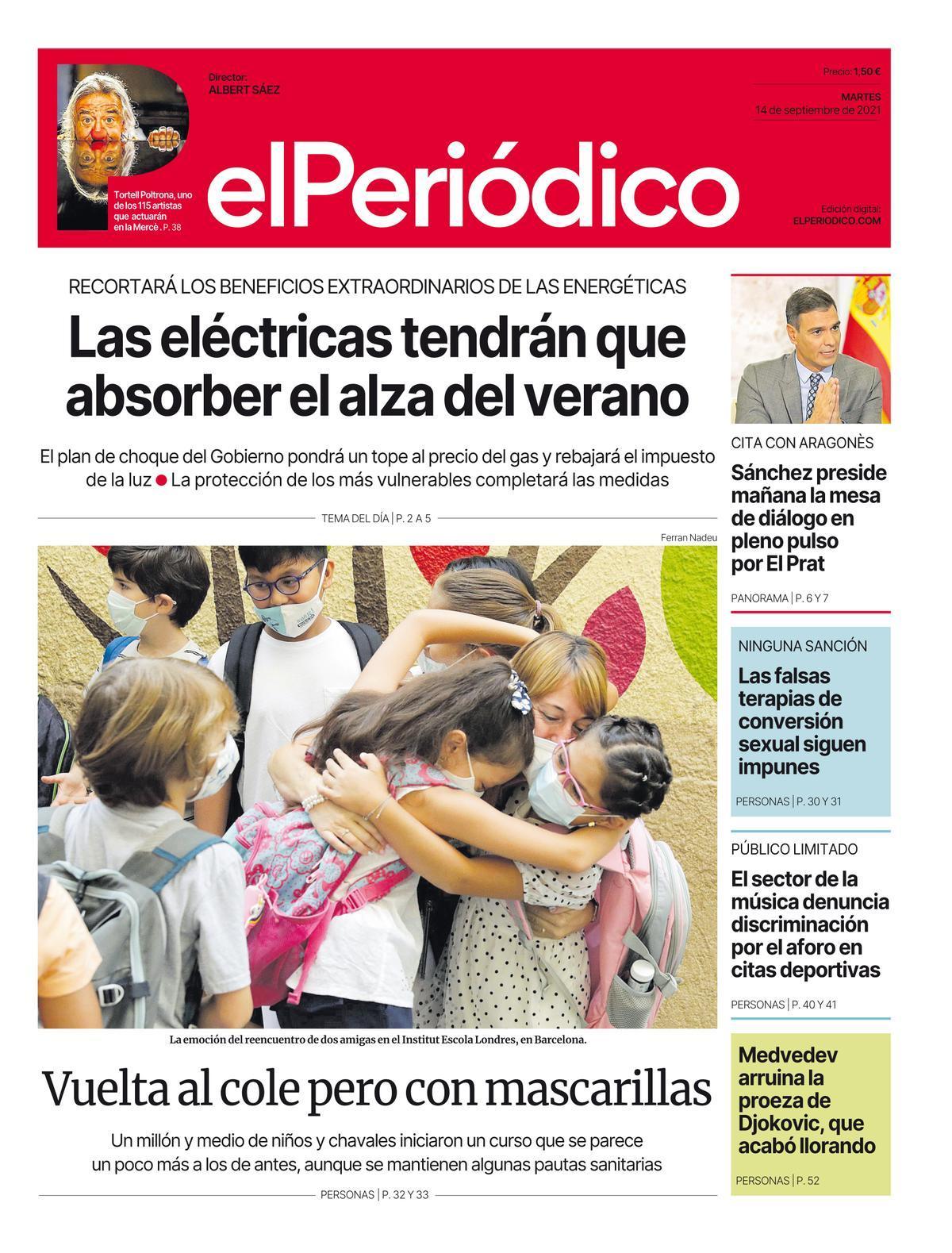La portada de EL PERIÓDICO del 14 de septiembre del 2021.