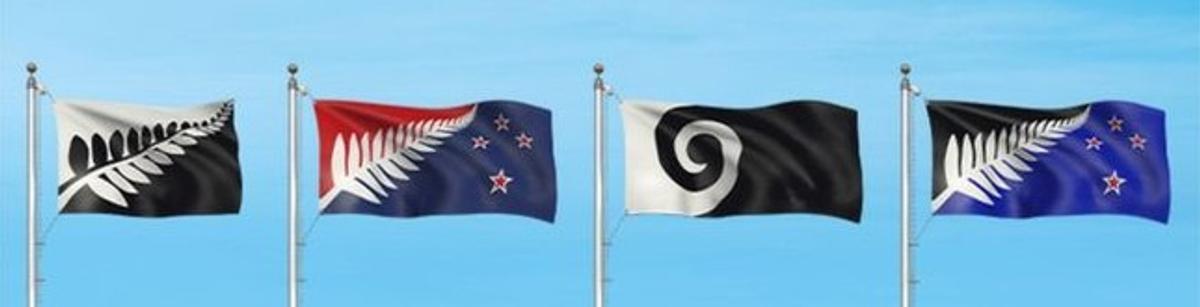Los cuatro diseños definitivos propuestos por Nueva Zelanda para cambiar su bandera.