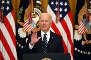 El presidente de EEUU, Joe Biden, durante su primera rueda de prensa tras su llegada a la Casa Blanca.