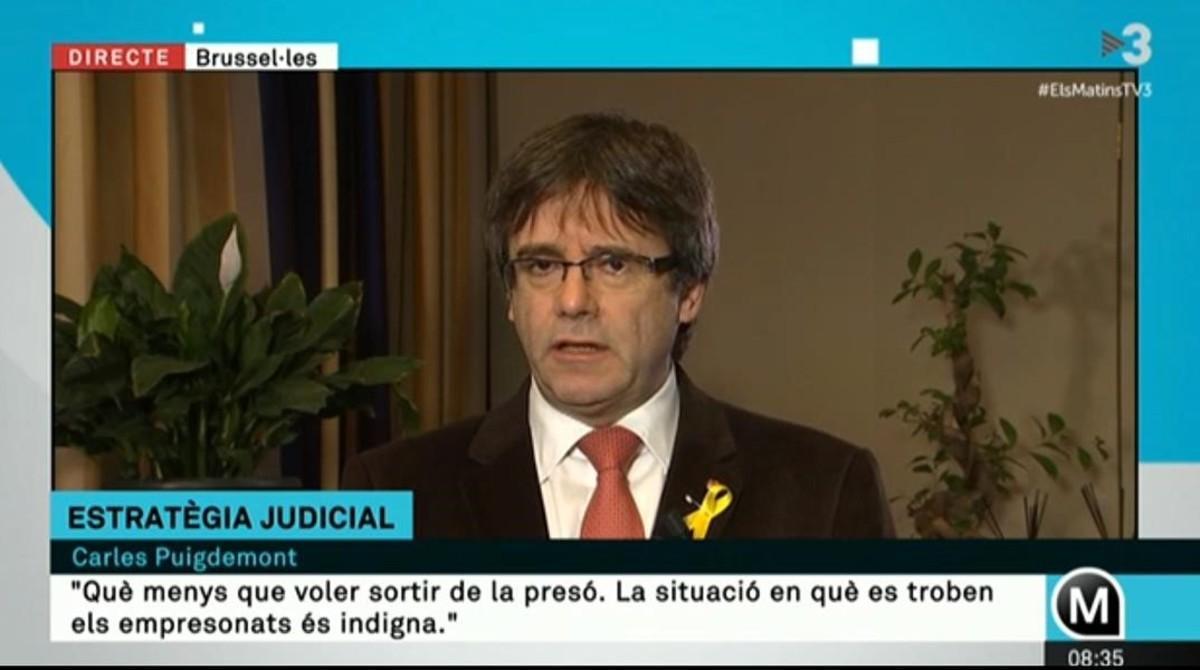 Carles Puigdemont entrevistado en Els matins de TV3.
