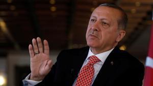 El presidente de Turquía, Recep Tayyip Erdogan, durante una entrevista con Reuters en el Palacio Presidencial, en Ankara, el 25 de abril.