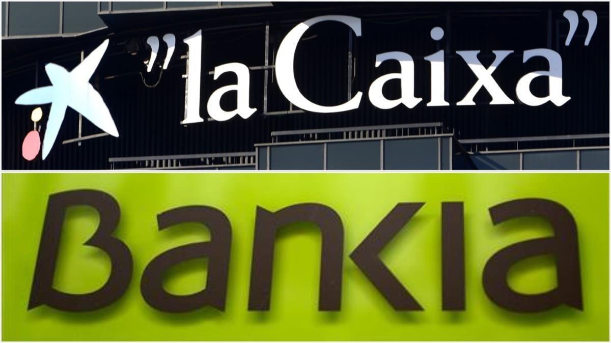 Combo de los logos deLa Caixay Bankia por la fusion de los bancos.