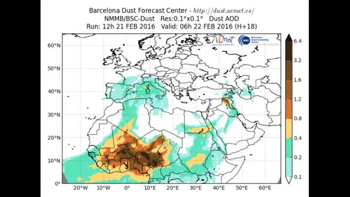 Simulación de la evolución del polvo en suspensión según el programa de cáculo del Barcelona Supercomputing Center (BSC).