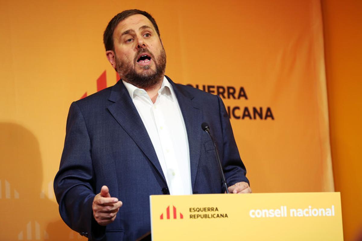 Intervención del líder de ERC, Oriol Junqueras, en el consejo nacional de ERC el pasado septiembre