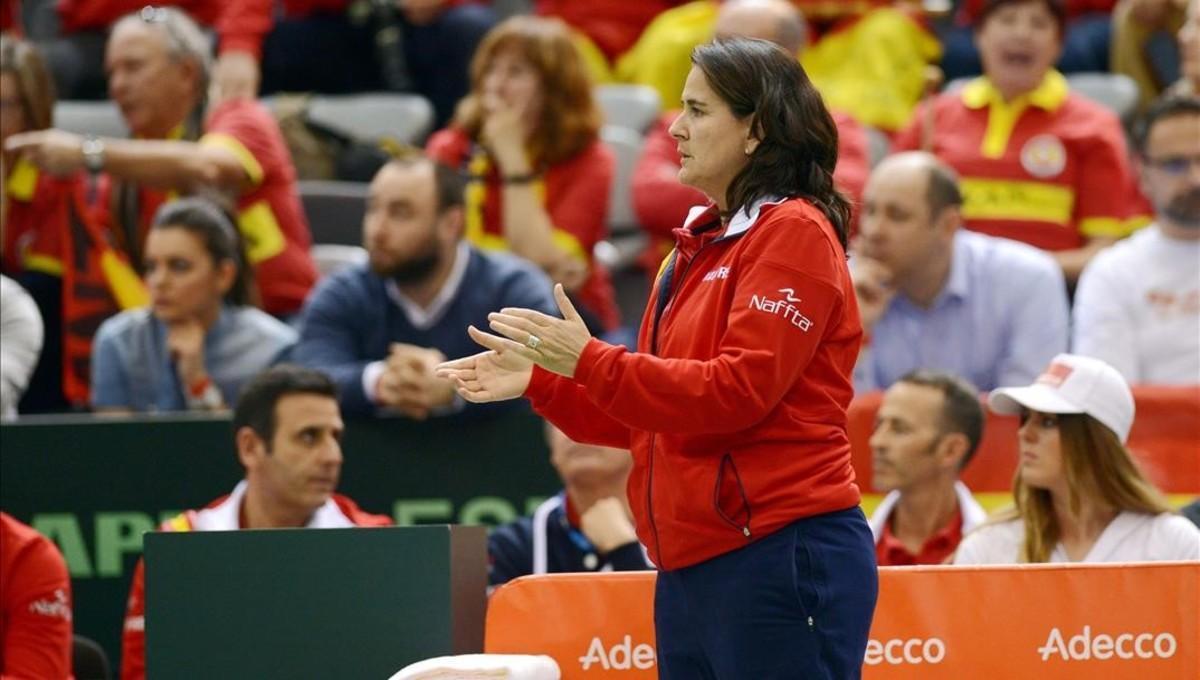 Conchita Martínez en el partido contra Croacia de la Copa Davis.