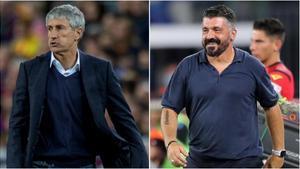 Quique Setién y Gennaro Gattuso, los entrenadores del Barça y el Nápoles