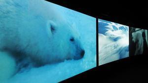 Muestra de la instalación 'Vertigo Sea', de John Akomfrah, en la Fundació Tàpies.