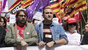 Camil Ros y Javier Pacheco, en la manifestación del Primero de Mayo.
