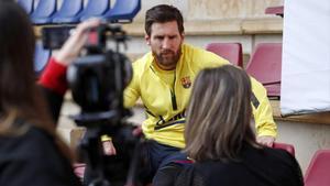 Leo Messi, durante la grabación de '100x100 Tito'.