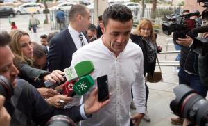 David Serrano, llegando a la Audiencia de Málaga durante la investigación judicial.